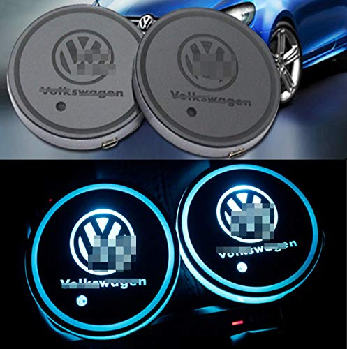 monochef Auto sport 2PCS LED Cup Holder Mat Pad Coaster with USB Rechargeable Interior Decoration Light (vk)