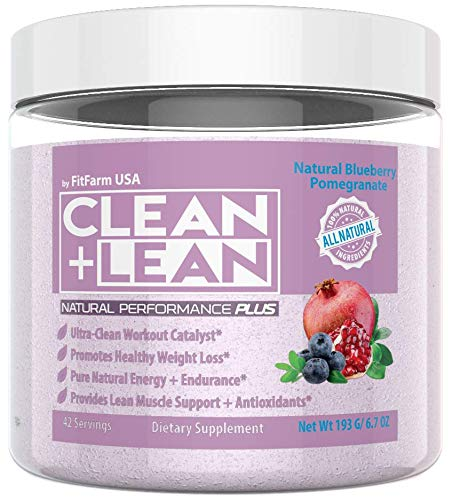 Clean Lean Natural Performance Plus by FitFarm USA Ultra-Clean Workout Catalyst Healthy Weight Loss Blend, Lean Muscle BCAA s, and Powerful Antioxidants- 100 Non-GMO Ingredients 42 Svgs, 6.7oz