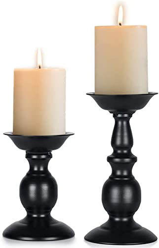 Nuptio Black 2 Pcs Iron Pillar Candle Holder