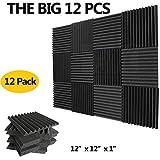 "(12 PACKS)-Acoustic Foam Panels Sound Damping Tile, Studio Piano Room Sound Absorbing Echo Reduction Foam Tile, 1"" X 12"" X 12"" (black)"