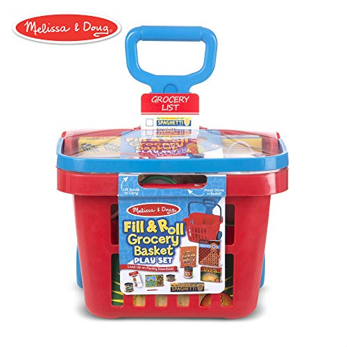 Melissa & Doug Fill & Roll Grocery Basket Play Set (Play Food, Durable Construction, 11 Pieces, 22