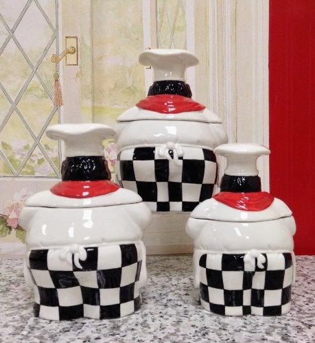 Kitchen Decor African American Guys Bistro Black Happy Chef 3pc Canister Set 89029 By Ack