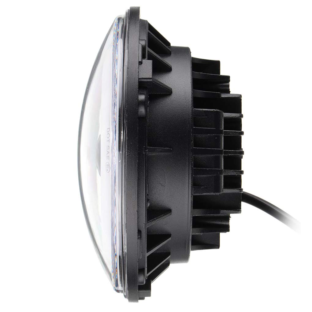 12-30V 7 Inch Round LED Front Headlights Halo Angle Eyes Light for Wrangler JK TJ 97-15 by Topker (Image #5)