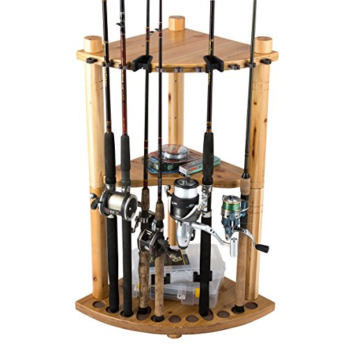 Rush Creek Creations 13 Fishing Rod Corner Rack with Duo Rod Clips and Storage Shelf - No Tool Assembly