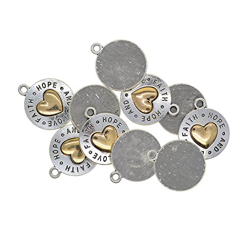 (10 Pieces Tibetan Silver and Gold Plated Alloy Charms Vintage Pendants for DIY Jewelry Making Crafting Fit Necklace Bracelet Spacers Dangle Beads, 5 Styles to Choose - Love Hope Faith Heart 24x20mm)