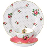 Royal Albert New Country Roses Cheeky Pink 3 Piece Set (Teacup, Saucer, Plate)