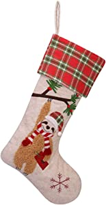 WORLDECO Christmas Velvet Stocking Home Decorations Gifts, Sloth Pattern Xmas Present Socks Plush Faux Fur Cuff 21in