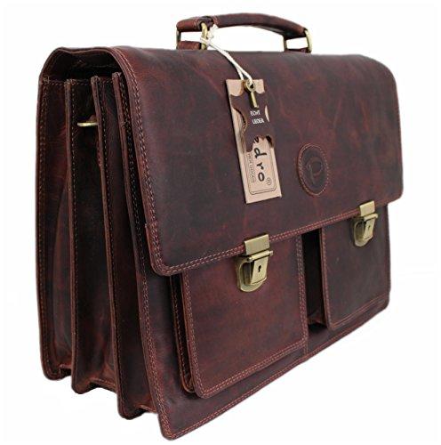 Pedro Damen Herren Echt-Leder Tasche Aktentasche Arbeitstasche Notebooktasche Laptoptasche 15 16 17 Zoll DIN A4 Umhängetasche Dokumenten-tasche Büro aus echtem hochwertigem Leder Vintage braun PB9108