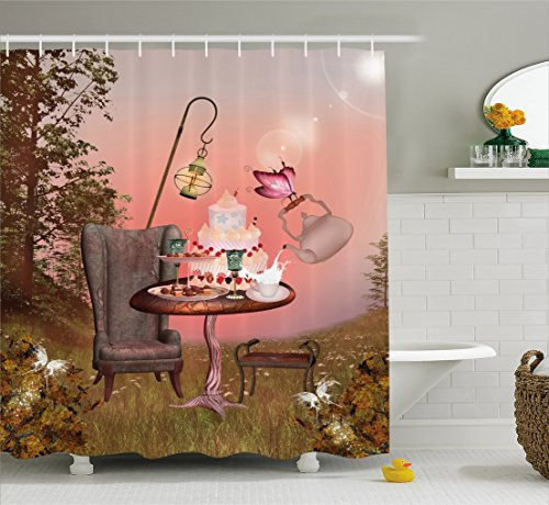 Surrealistic Shower Curtain by Ambesonne, Birthday Alice in Wonderland with Cake Butterfly in Magical Forest Cartoon Art, Fabric Bathroom Decor Set with Hooks, 75 Inches Long, Multicolor