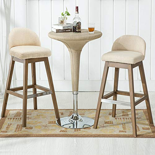 (Chairus Counter Height Bar Stools Set, Fabric Upholstered Modern Dining Distressed Indoor & Outdoor Bar Stool Chair with Low Back & Wood Legs for Dining Room, Kitchen, Bar Counter -)