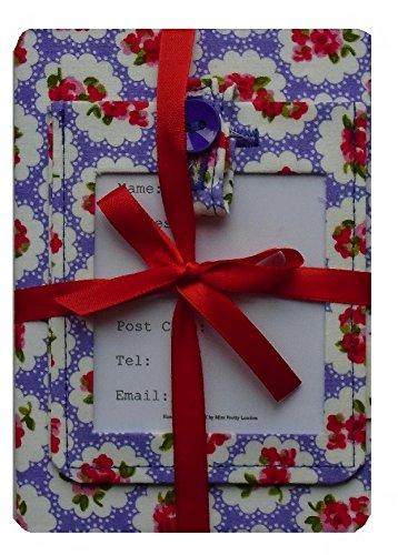 Miss Pretty London Morado de ramo de rosas etiqueta para equipaje y diseño de cabeza de