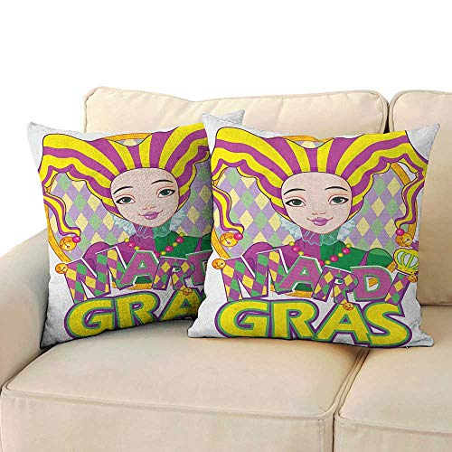 RenteriaDecor Mardi Gras,Pillowcase Pattern Carnival Girl in Harlequin Costume and Hat Cartoon Fat Tuesday Theme 16