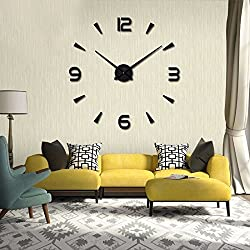 WOHENI 3D DIY Wall Clock Large Moden Wall Stickers Watch with Frameless Acrylic Mirror Metal as Useful Decorations in Living Room Home Office (Black001)