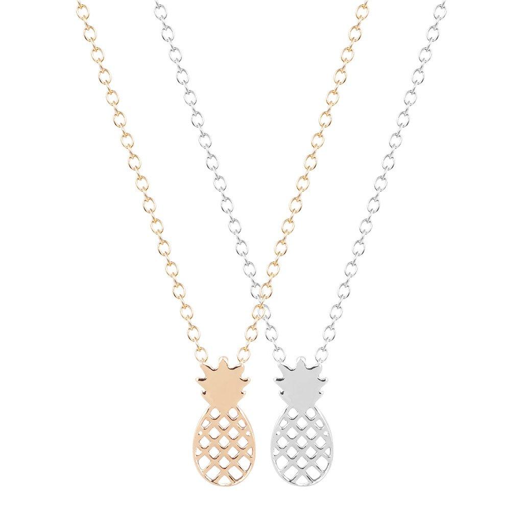 Lot de 2 colliers avec pendentif ananas original, style minimaliste, boho chic, idée cadeau féminine QIANDI JEWELRY LTD QDCP0018