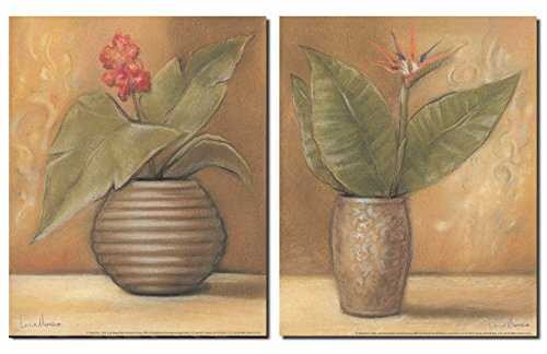Global-Pots-I-Vintage-Pots-with-Beautiful-Bird-of-Paradise-and-Orchid-Flowers-Two-8X10-Poster-Prints