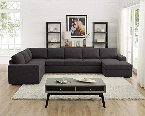 LILOLA Tifton Modular Sectional Sofa with Reversible Chaise in Dark Gray Linen