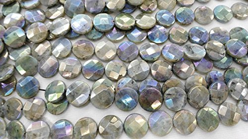 (2strads 12mm Labradorite stone AB Mystic Genuine Labradorite gemstone roundel round disc square box briolette beads for jewelry)