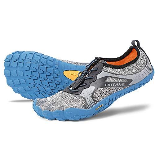 hiitave Men/Womens Minimalist Barefoot Trail Running Shoes Wide Toe Glove Cross Trainers Hiking Shoes Black/Gray/Yellow US 9.5 Women, US 8.5 Men
