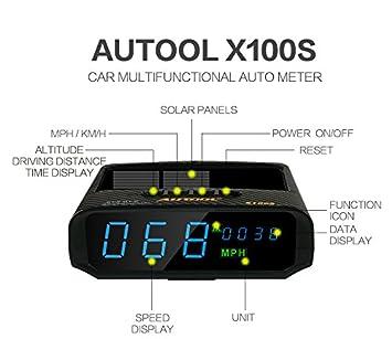 Autool X100S Automotive Solar GPS HUD velocímetro kmh/MPH con exceso ...