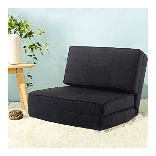 Fold Down Chair Flip Out Lounger Convertible Sleeper Bed Couch Game Dorm Guest BLACK from Unknown