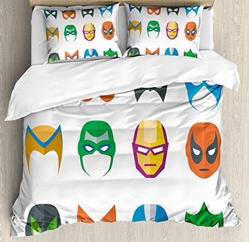Ambesonne Superhero Duvet Cover Set Queen Size, Hero Mask Female Male Costume Power Justice People Fashion Icons Kids Display, Decorative 3 Piece Bedding Set with 2 Pillow Shams, Multicolor]()