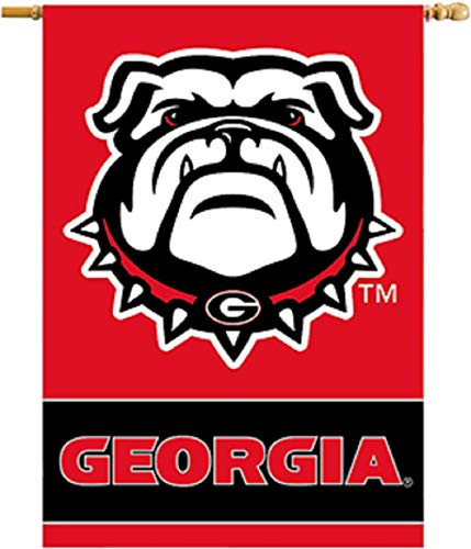 NCAA Georgia Bulldogs 2-Sided 28 x 40-Inch Banner with Pole - Side Inch Banner 40 2