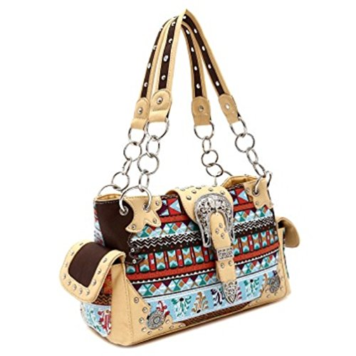 Shoulder Belt Aztec Western Buckle Handbag NATURAL Print Purse xZSAqRw7