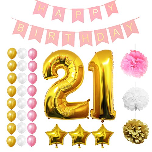 "21st Happy Birthday Party Balloons, Supplies & Decorations by Belle Vous - 32 Pc Set - Large 21 Years Foil Balloon 12"" Gold, White and Pink Latex Balloon Decoration - Decor Suitable for Adults"