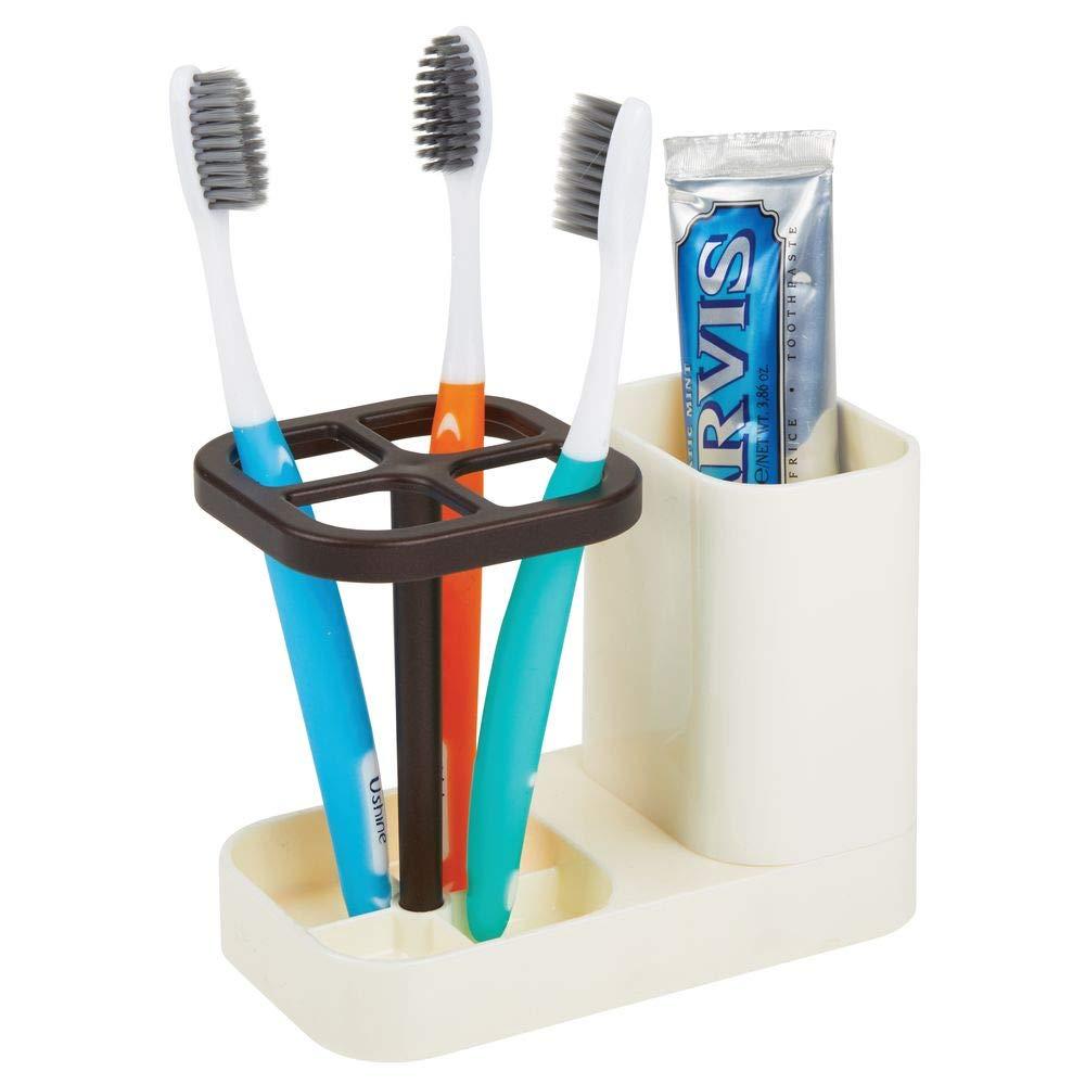 Porta cepillos de dientes de pl/ástico para lavabos o muebles de ba/ño blanco y dorado rojizo Soporte para cepillos dentales y dent/ífrico mDesign Soporte para cepillos de dientes