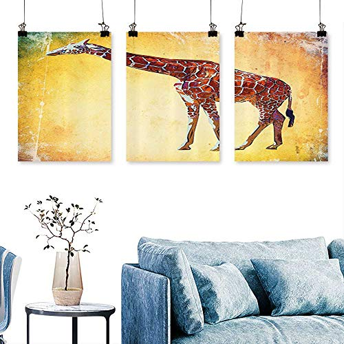 SCOCICI1588 3-Piece Modern Vintage Style Giraffe Watercolor African Animal Wildlife Safari Zoo Retro Artwork for Wall Decor Triptych 30 INCH X 47 INCH X ()