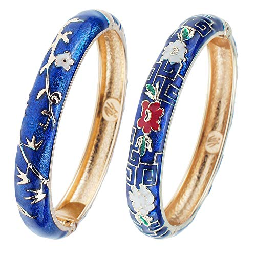 UJOY Fashion Bangles Indian Jewelry Sets Cloisonne Bamboo Flower Enamel Bracelet for Women Gift Box Packed 55A114 Navy Blue