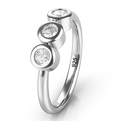 3c425cc468991 Metal Factory Sterling Silver 3 CZ Past Present Future Wedding Engagement  Ring