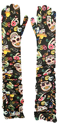 Costume Accessory - Day of the Dead All Over Print Long Rouched -