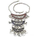 Bold Statement Chain Necklace Handmade | Triple Crescent Moon Pendant Fashion Jewelry | Tribal Gypsy Hippie Boho Kuchi Afghan Style Fashion Jewelry | Vintage Oxidized Silver Plated