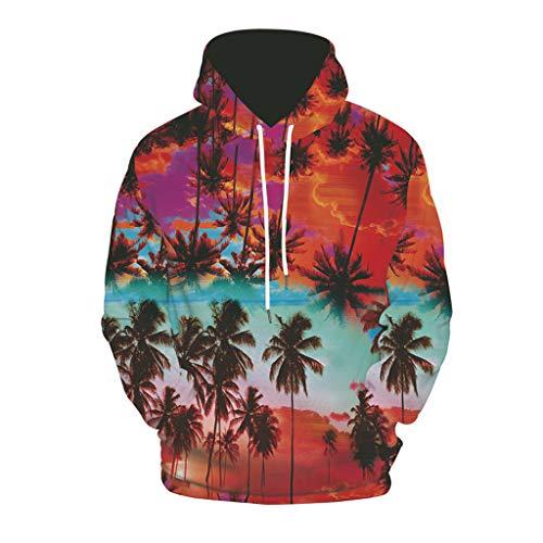 CTAU Mens Unisex Tops Novelty Fashion 3D Printing Hoodie Hooded Loose Long Sleeve Pullover Sweatshirt (XXL, E-Red)