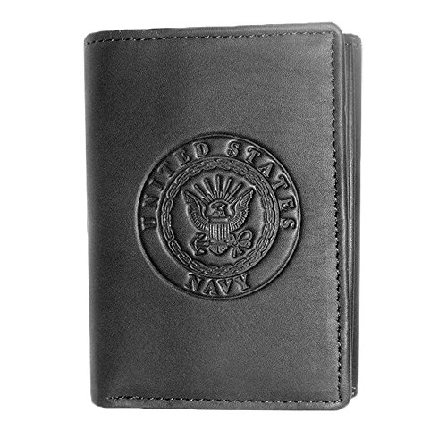 US Armed Forces Collection Men's Genuine Leather Wallets - Gift Boxed Bi-Fold and Tri-Fold Leather Wallets (US Navy Tri-Fold, Black)