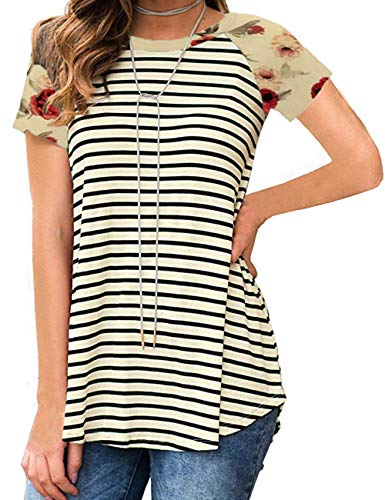 - Womens Striped Cute Tops Short Sleeve Printed T Shirts Casual Yellow M