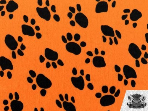 Velboa Faux / Fake Fur Paw Print ORANGE Fabric By the Yard