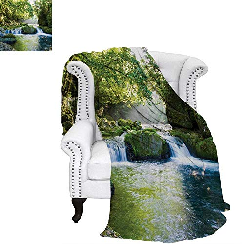 - warmfamily Rainforest Lightweight Blanket Foliage Jungle Misty Mountains Waterside River Shaft with Sunbeams Image Custom Design Cozy Flannel Blanket 60