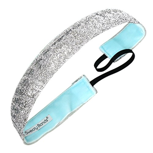 Signature Silver Basketball (Sweaty Bands Womens Girls Headband - Non-Slip Velvet-Lined Glitter Hairband - Viva Diva Silver 1-Inch)
