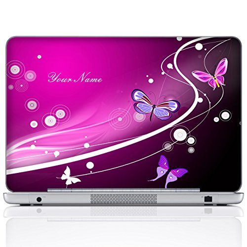 Meffort Inc Personalized Laptop Notebook Notebook Skin Sticker Cover Art Decal, Customize Your Name (15.6 Inch, Pink Red Butterflies)