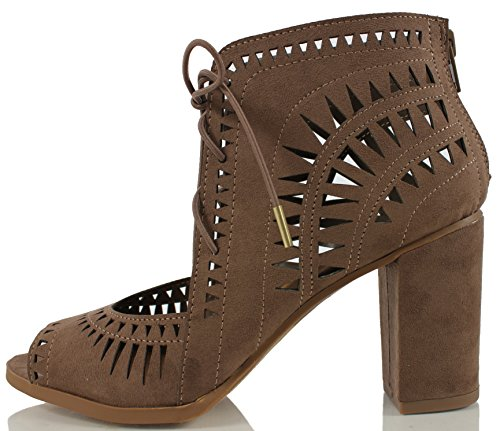 Delicious Womens Yorker Faux Suede Cutout Lace Up Open Toe Stacked Heel Ankle Bootie