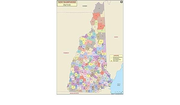 Amazon.com : New Hampshire Zip Code Map - Laminated (36