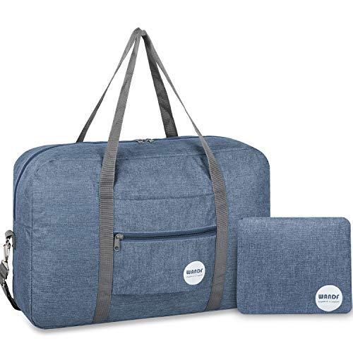 Wandf Leichter Faltbare Reise-Gepäck Handgepäck Duffel Taschen Übernachtung Taschen/Sporttasche für Reisen Sport Gym Urlaub Weekender handgepaeck (A-Hellblau mit Schultergurtt)