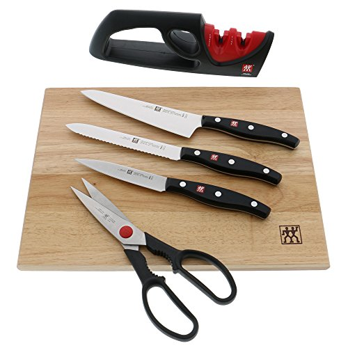 ZWILLING J.A. Henckels 30720-006 Boxed Knife and Cutting Board Set, Brown/Silver/Black