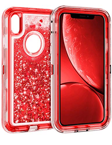 Coolden Case for iPhone XR Cases Protective Glitter Case for Women Girls Cute Bling Sparkle Heavy Duty Hard Shell Shockproof TPU Case for 6.1 Inches Apple iPhone XR 10R, Red