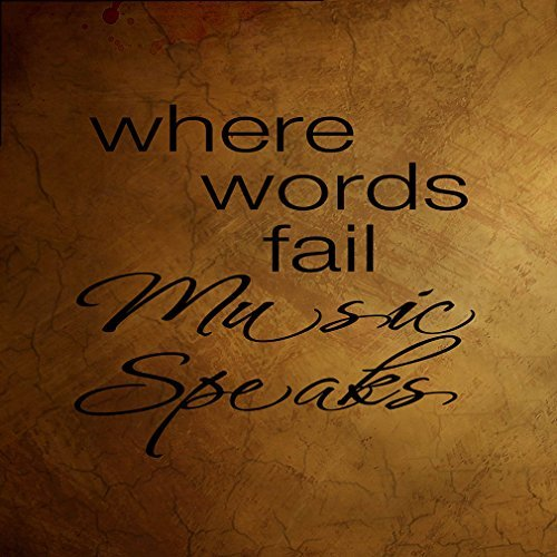 (Where Words Fail Music Speaks Funny Novelty Metal Sign Wall Decor Caramel Background)