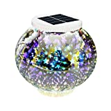 Solar Lights, New Arrival Color Changing Solar Powered Mosaic Glass Ball Led Garden Lights, EGRD Rechargeable Solar Table Lights, Outdoor Waterproof Solar Night Lights Table Lamps for Decorations Gift