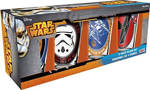 Zak Designs Star Wars 10 oz. Glass Tumblers Gift Set, Galactic Empire, Rogue Leader & Rebel Alliance, 4 piece set