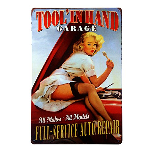 DL-Full Service AUTO Repair Tool in Hand Garage take You Back to The pin up Girls of The 1950's Great Garage or Man cave - 1950 Art